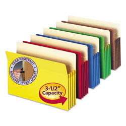 Smead Colored File Pockets, 3.5 in Expansion, Letter Size, Assorted, 5/Pack