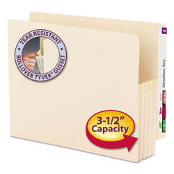 Smead Manila End Tab File Pockets, 3.5 in Expansion, Letter Size, Manila, 25/Box