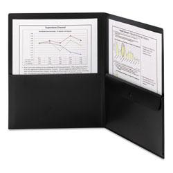 Smead Poly Two-Pocket Folder w/Security Pocket, 11 x 8.5, Black, 5/Pack