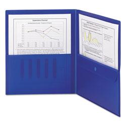 Smead Poly Two-Pocket Folder w/Security Pocket, 11 x 8 1/2, Blue, 5/Pack
