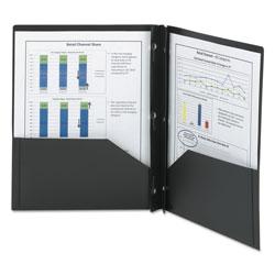 Smead Poly Two-Pocket Folder w/Fasteners, 11 x 8.5, Black, 25/Box