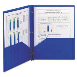 Smead Poly Two-Pocket Folder w/Fasteners, 11 x 8 1/2, Blue, 25/Box