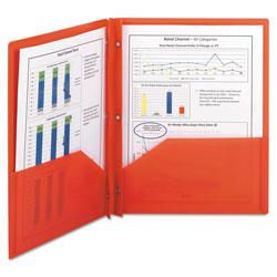 Smead Poly Two-Pocket Folder w/Fasteners, 11 x 8 1/2, Red, 25/Box
