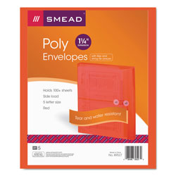 Smead Poly String & Button Interoffice Envelopes, String & Button Closure, 9.75 x 11.63, Transparent Red, 5/Pack