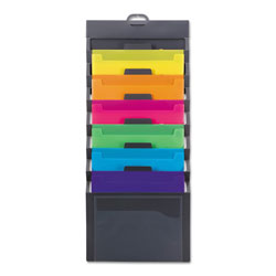 Smead Cascading Wall Organizer, 14.25 x 33, Letter, Gray with 6 Bright Color Pockets
