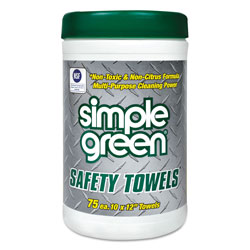 Simple Green Safety Towels, 10 x 11 3/4, 75/Canister, 6 per Carton
