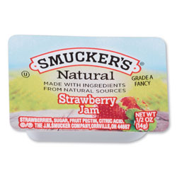 Smucker's Smuckers 1/2 Ounce Natural Jam, 0.5 oz Container, Strawberry, 200/Carton