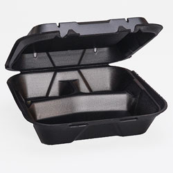 Genpak Large Vented Snap It 3-Compartment Foam Hinged Dinner Container, Black