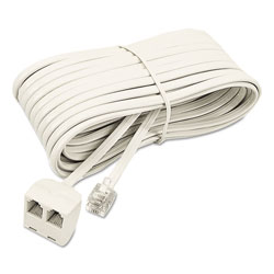 Softalk Telephone Extension Cord, Plug/Dual Jack, 25 ft., Almond