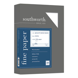 Southworth Quality Bond Business Paper, 95 Bright, 20 lb, 8.5 x 11, White, 500/Ream