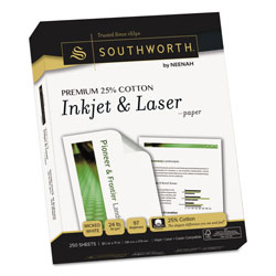 Southworth Premium 25% Cotton Paper, 97 Bright, 24 lb, 8.5 x 11, Wicked White, 250/Pack