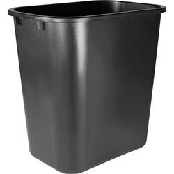 Sparco Rectangle Plastic Desk Wastebasket, 28 Quart, Black