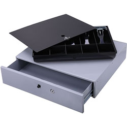 "Sparco Cash Drawer w/ Removable Tray, 17-3/4"" x 15-3/4"" x 3-3/4"", Gray"
