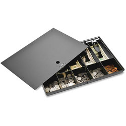 """Sparco Money Tray with Locking Cover, 16""""x11""""x2-1/4"""", Black"""