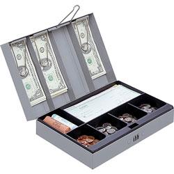 "Sparco Gray Steel Combination Lock Cash Box,11-1/2""x7-3/4""x3 1/4"""