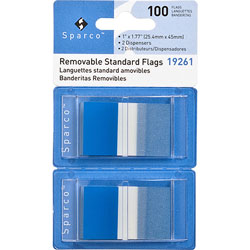 "Sparco Pop-up Removable Standard Flags, 1"", 100/PK, Blue"