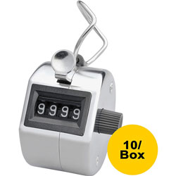 Sparco Tally Counters, w/Finger Ring, 4 Figure, 10/BX, Silver