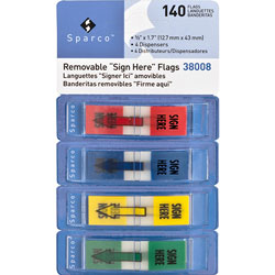 """Sparco Flags in Dispenser, """"Sign Here"""", 1/2"""" x 1 3/4"""", Assorted"""