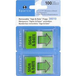 "Sparco Green ""Sign and Date"" Flags in Dispenser, 1"" x 1 3/4"""