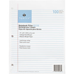 """Sparco filler paper, college ruled with margin line, 11""""x8 1/2"""", white"""