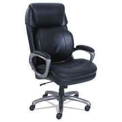 SertaPedic Cosset Big and Tall Executive Chair, Supports up to 400 lbs., Black Seat/Black Back, Slate Base