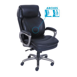 SertaPedic Cosset High-Back Executive Chair, Supports up to 275 lbs., Black Seat/Black Back, Slate Base