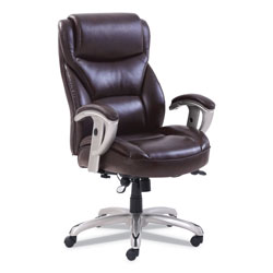 SertaPedic Emerson Big and Tall Task Chair, Supports up to 400 lbs., Brown Seat/Brown Back, Silver Base