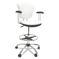 ShopSol Lab and Healthcare Seating, 28 in Seat Height, Supports up to 300 lbs., White Seat/White Back, Chrome Base