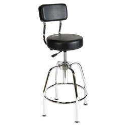 ShopSol Heavy-Duty Shop Stool, 34 in Seat Height, Supports up to 300 lbs., Black Seat/Black Back, Chrome Base