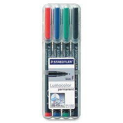Staedtler Lumocolor Overhead Transparency Markers, Fine Point, Permanent Ink, 4 Color Set