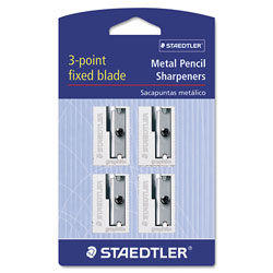 Staedtler Handheld Metal Pencil Sharpener, 1.13 in x 0.63 in x 0.5 in, Silver, 4/Pack