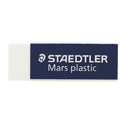 """Staedtler White Plastic Mars Eraser with Protective Sleeve, 2 1/2"""" x 7/8"""" x 1/2"""""""
