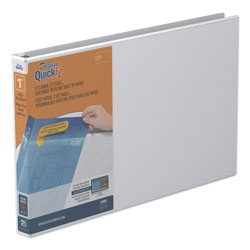 Stride QuickFit Ledger D-Ring View Binder, 3 Rings, 1 in Capacity, 11 x 17, White