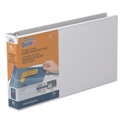 Stride QuickFit Landscape Spreadsheet Round Ring View Binder, 3 Rings, 1.5 in Capacity, 14 x 8.5, White