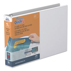 Stride QuickFit Landscape Spreadsheet Round Ring View Binder, 3 Rings, 1.5 in Capacity, 11 x 8.5, White