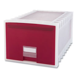Storex Archive Storage Drawers, Letter Files, 15.13 x 24.25 x 11.38, Red/White