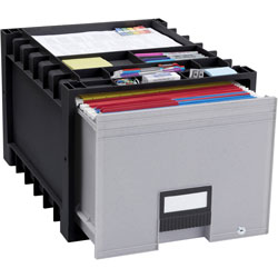 Storex Archive Drawer for Letter Files Storage Box, 18 in Depth, Black/Gray