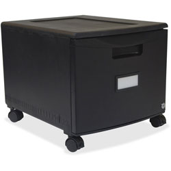 Storex Single-Drawer Mobile Filing Cabinet, Black
