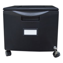 Storex Single-Drawer Mobile Filing Cabinet, 14.75w x 18.25d x 12.75h, Black