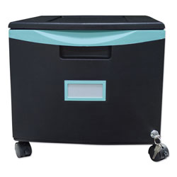 Storex Single-Drawer Mobile Filing Cabinet, 14.75w x 18.25d x 12.75h, Black/Teal