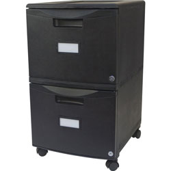 Storex File Cabinet, 2-Drawers, Letter/Legal, 14-3/4 in x 18-1/4 in x 26 in, Black