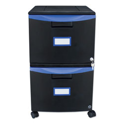 Storex Two-Drawer Mobile Filing Cabinet, 14.75w x 18.25d x 26h, Black/Blue