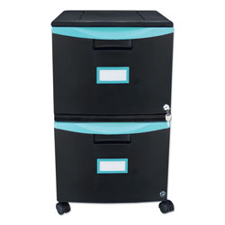 Storex Two-Drawer Mobile Filing Cabinet, 14.75w x 18.25d x 26h, Black/Teal