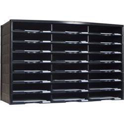 Storex Literature Sorter, 24 Comp, 14-1/10 inWx31-2/5 inLx20-1/2 inH, Black