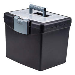 Storex Portable File Box with Large Organizer Lid, Letter Files, 13.25 in x 10.88 in x 11 in, Black