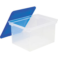 Storex File Tote, Plastic, Letter/Legal, 10-1/2 inx14 inx18-1/3 in, Clear