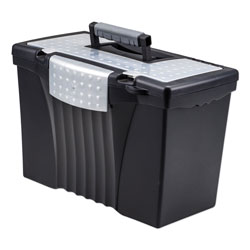 Storex Portable Letter/Legal Filebox with Organizer Lid, Letter/Legal Files, 14.5 in x 10.5 in x 12 in, Black
