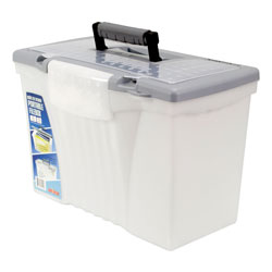Storex Portable Letter/Legal Filebox with Organizer Lid, Letter/Legal Files, 14.5 in x 10.5 in x 12 in, Clear/Silver