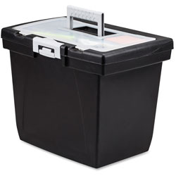 Storex Portable File Box, Letter, 15 in x 10 in x 12 in, Black/Gray