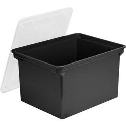 Storex File Tote, Plastic, Letter/Legal, 10-1/2 inx14 inx18-1/3 in, Black